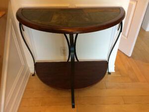 Table console demi-lune et miroir assorti