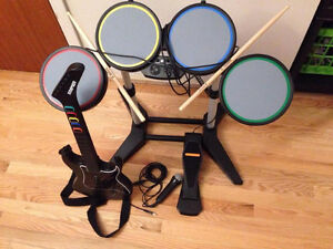 PS2 Rockband/Guitar Hero set with FOUR games