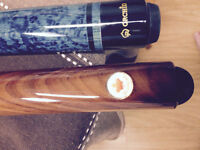 2 pool cues and carrying case