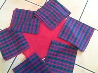 Pier red cotton table cloth & 6 checked napkins