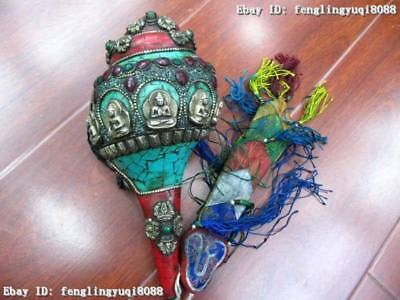 Tibetan Buddhism trumpet shell inlay gem Red coral turquoise Buddhism Conch Horn