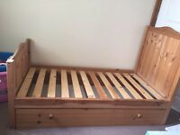 WOODEN TODDLER BED & Matteress