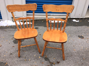 Solid wood 2 chairs.