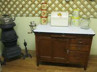 Antique Hoosier Cupboard Base with Enamel Top CLOSING JUNE 28TH