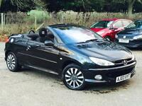 2003 Peugeot 206 1.6 Coupe Cabriolet S Black only 73578 Miles P/X CLEARANCE SALE