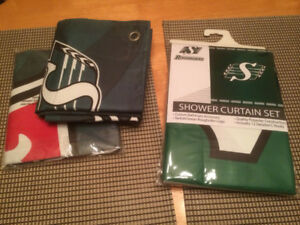 Roughrider shower curtain & 2 flags