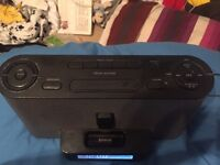 Sony 30pin iPhone docking station, radio alarm, aux cable speaker