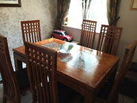 Beautiful Acacia Wood and Marble Dining Table Set