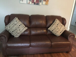 Real leather couch and love seat....
