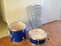 Drum Set and Metalic Xylophone. drill drums 2 sizes 1 big and 1