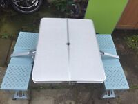Camping folding table with chairs