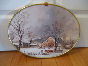 ...JUST A CHARMING OLD WINTER FARM YARD SCENE WALL HANGING....