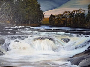 "Kawartha Waterfall by Debi Fitzgerald ""White Water Rapids"" 1980 Stratford Kitchener Area image 6"