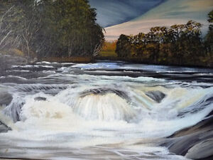 "Kawartha Waterfall by Debi Fitzgerald ""White Water Rapids"" 1980 Stratford Kitchener Area image 6"