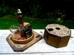 antique cast iron ART NOUVEAU INKWELL 1891 glass fonts DATED