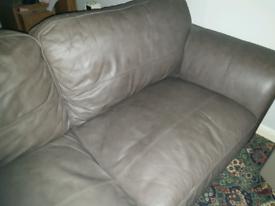 Mocha leather three seater settee sofa