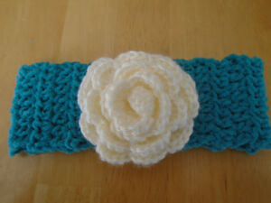 Baby Headband Teal with White  Flower 3mo and up - Photo Prop