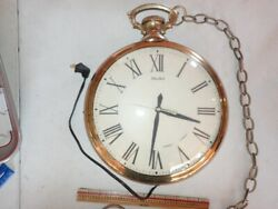 Vintage Large United Clock Corp Electric Pocket Watch Wall Clock Model 40 1959