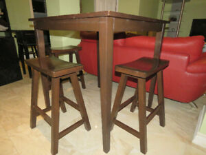 5 Piece Pub High Table and Chair set In Black/Brown