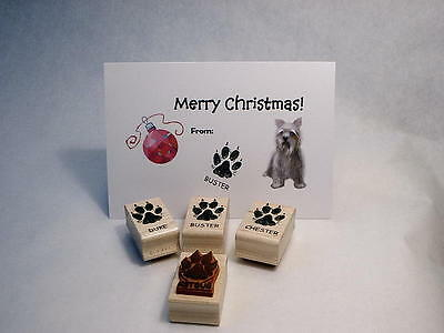 Personalized Dog Paw Print, Wood Mounted Rubber Stamp - Paw Print Stamp