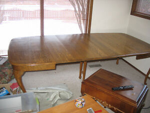 Tiger Oak antique dining table and chairs Strathcona County Edmonton Area image 7