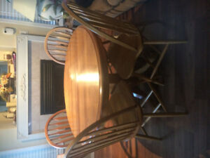 Solid Wood Table & 6 Chairs with Leaf
