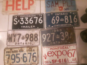 Old antique collector's license plates