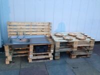 Old kitchen sinks and pallets for fundraising project