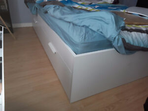 White Ikea bed frame with drawers