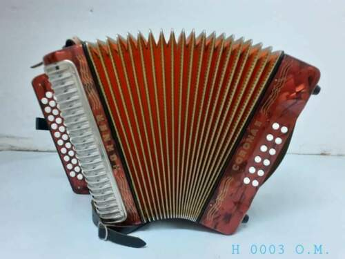 Hohner Corona II Button Accordion Red Pearl KEY GCF STRAPS MADE IN GERMANY