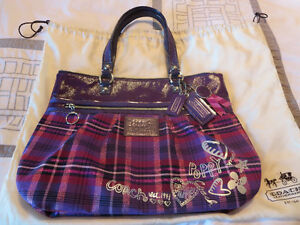 Coach Poppy Tartan Glam Tote Purse