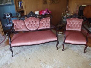 Victorian Art Nouveau Settee and Chair mid 1800s