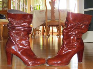 Brown Patent Leather Boots- $15 OBO