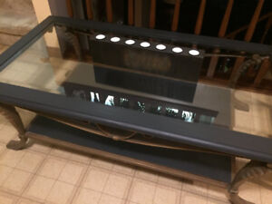 wrought iron end and coffee table