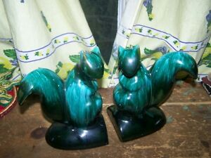 Collectible Canadian Blue Mountain Pottery BMP Squirrel Bookends