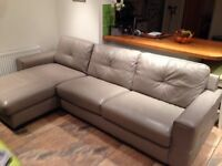 Leather chaise sofa grey