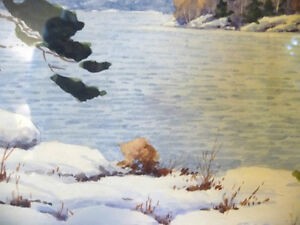 "Original Watercolor by William Blackwood, ""Winter Study"" 1930 Stratford Kitchener Area image 6"