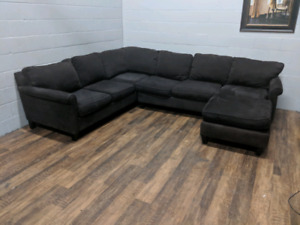 (Free Delivery) - Large U-shape brown sectional sofa