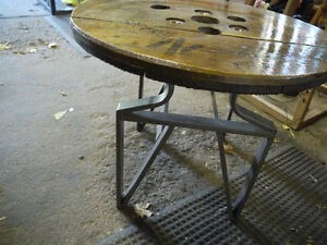 round hydro spool top table. solid wood metal base London Ontario image 5