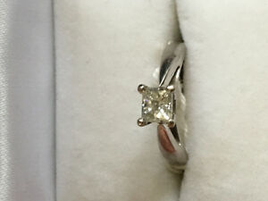 Half Ct. Princess Cut Diamond Solitaire 14k White Gold Ring