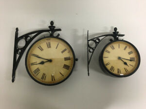 Double Sided Hanging Antiqued Clocks