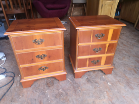 Pair of solid yew reproduction bedside tables