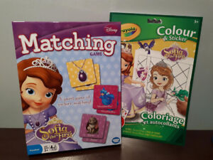 SOFIA THE FIRST MATCHING GAME & STICKER/COLOURING BOOK....NEW!