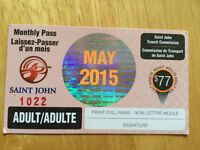 Adult Month Bus Pass for May 2015.