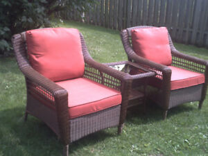 New Hamilton Bay patio set 2 chairs and wicker glass table$450