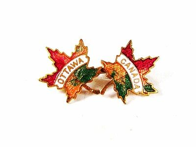 Vintage Red White Green Ottawa Canada Maple Leafs Brooch Unbranded 5216