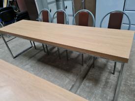 White Oak commercial tables on chrome