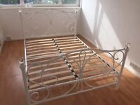 White Double Bed Frame With Slats