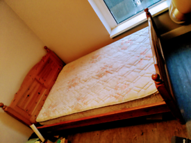 Double Bed+Mattress Solid wood. Delivery £20 within 5miles CF24