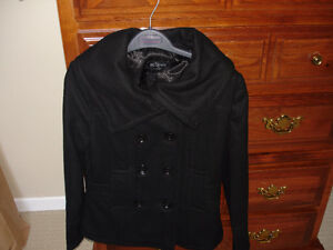 NEW LADIES BLACK PEA COAT SIZE XS, SILK LINED.
